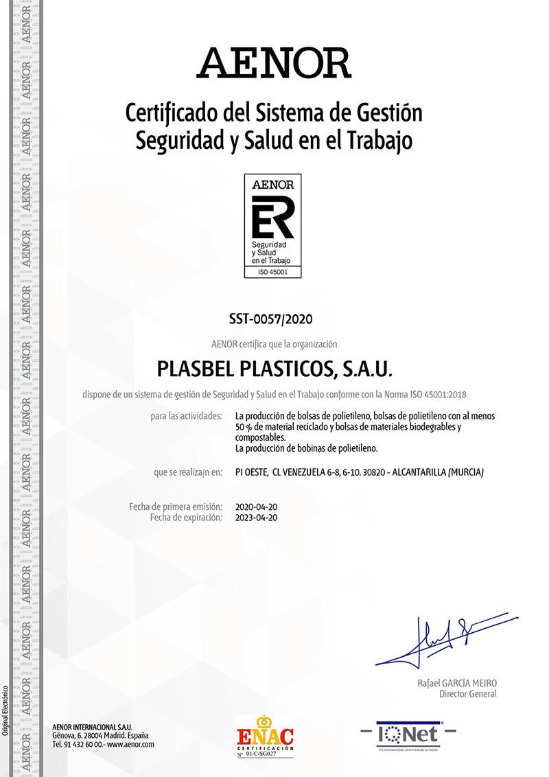 certificado AENOR 45001 Plasbel